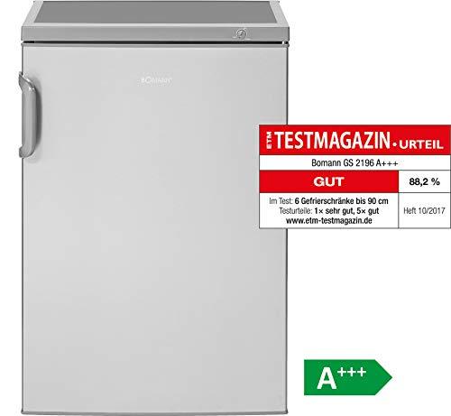 Bomann GS 2196 Gefrierschrank/A+++ / 84.5 cm / 94 kWh/Jahr / 82 L Gefrierteil/Türanschlag wechselbar/Edelstahl-Optik