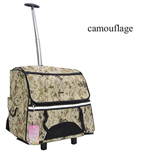 Trolley per Cani Con Ruote,Portatile per Esterna Rimovibile Zaino Trolley Zaino per Cani Gatti ed Altri Animali 2 in 1 Borsa da Trasporto Trasportino per Cani, Camouflage
