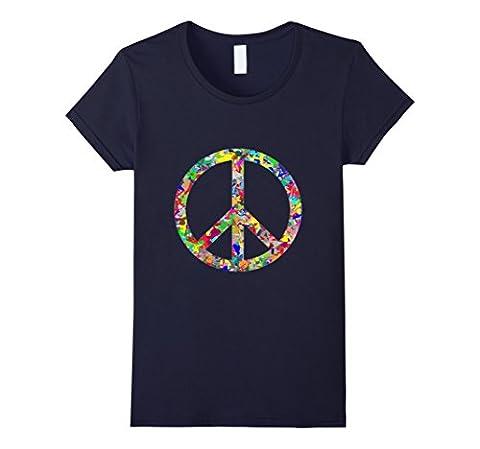 Women's Colorful Prismatic Rainbow Peace Sign T-Shirt Medium