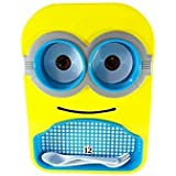 Pawan Plastic Kids Minion Printed Stylish Colourful Design Multipurpose Food Serving Dish/plate With Removable Bowls,spoon &fork For Kids For Gift( Colour May Be Vary)