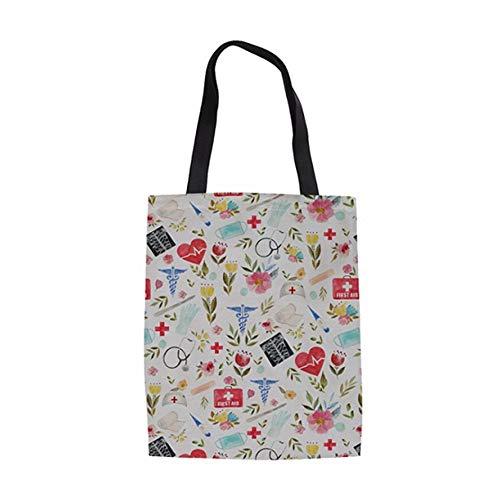 ZXXFR Baumwolltasche Liebe Zu Medizinischen Stil Druckt Bettwäsche Totebeutel Mädchen Bookbags Casual Wiederverwendbare Falten Top-Handle Bag Lady