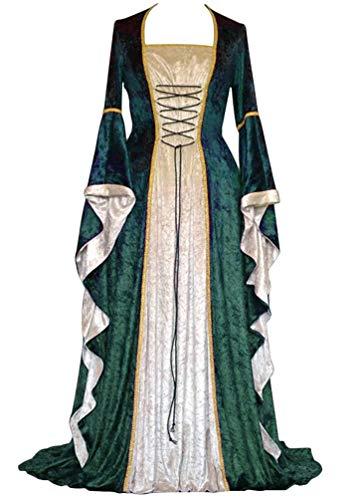 Mittelalterliche Formelle Kleidung - Kaiyei Damen Mittelalter Kleid Langarm Trompetenärmel