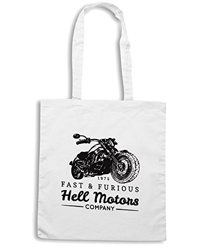 T-Shirtshock - Borsa Shopping TB0460 vintage biker with motorcycle retro hand sketchedtype with chopper bike Bianco