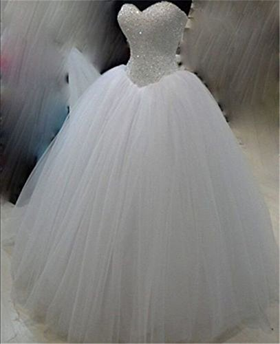 WLG High-End-Flauschige Prinzessin weißen Gaze Rock, Schlauch Oben, Perlen Brautkleid,Weiß,US8