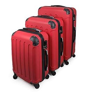 Todeco – Juego de Maletas, Equipajes de Viaje – Material: Plástico ABS – Tipo de ruedas: 4 ruedas de rotación de 360 ° – Esquinas protegidas, 51 61 71 cm, Rojo, ABS