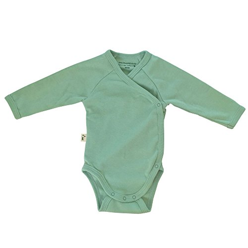 *Grünspecht 629-V1 Bio-Wickelbody langarm, kbA GOTS, Babybody, Bio-Baumwolle, Größe: 50/56, grün*