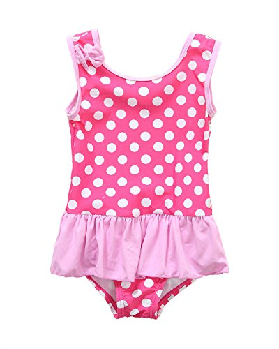 CharmLeaks Baby Girls Cute One Piece Swimsuit Ruffle Polka Dot Swimwear Swimming Costume