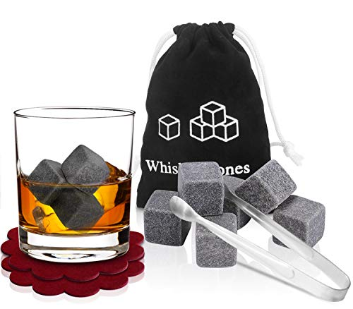 PEMOTech Whisky Steine, [9 Stücke] Whiskey Kühlen SteineEissteineGetränk Kühlende WürfelWhiskey Scotch auf der Steine mit einem Musselinbeutel, Satz