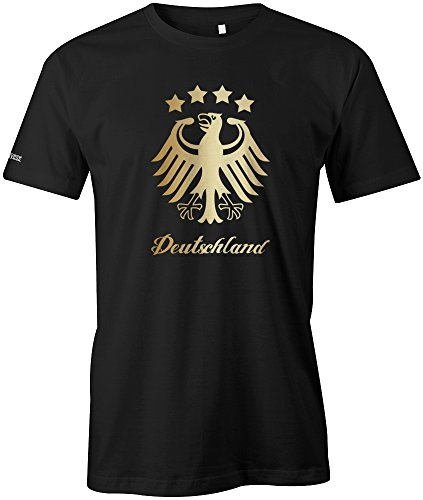 DEUTSCHLAND ADLER - 4 STERNE - GOLD - HERREN - T-SHIRT in Schwarz by Jayess Gr. XL