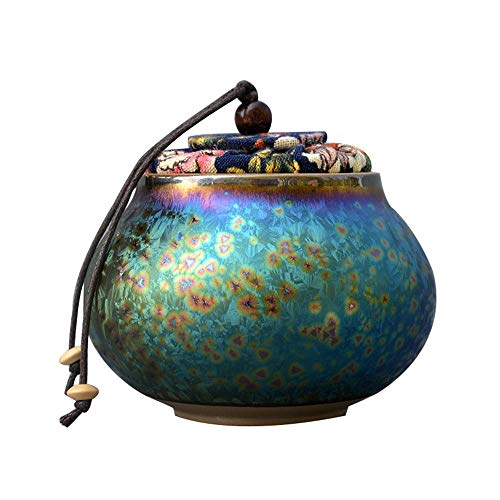 ZYHJAMA Mini-Keramik-Urne, Mensch oder Haustier Katze Hund Asche Einäscherung Urne Erwachsene und Gedenkurne -