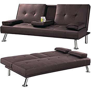 Cheap Faux Leather Tv Cinema Sofa Bed On Chrome Legs With