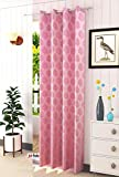 JD-Fab Polyresin Floral Grommet Curtain, 9 Feet, Pink, Pack of 1