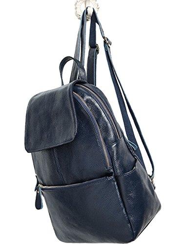 Menschwear Lady Genuine Leather Backpack moda di scuola della spalla dello zaino della Donne Bag Rosso Blu