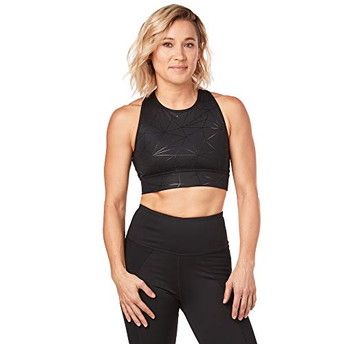 Strong by Zumba Womens Wide Waistband Athletic Performance Cropped Workout Leggings with Compression