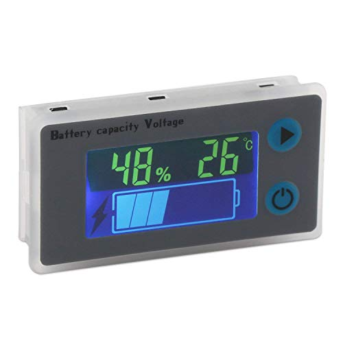 Battery Meter (DollaTek Battery Capacity Monitor 10-100V Programmierbarer Batteriestand Spannung Temperatur Meter Gauge 12V 24V 36V 48V LCD-Anzeige Prozentsatz Indikator Tester Electric Quantity Detector)
