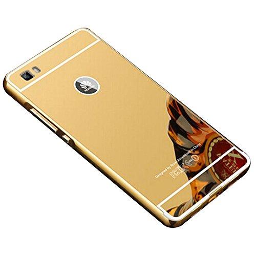 COOSA caso para Huawei P8 Lite, Nueva lujo ultrafino del metal de aluminio Espejo PC de nuevo caso de la cubierta 5.0 pulgadas (Oro)