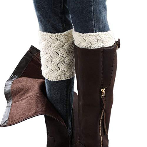 LADES DIRERCT Damen Stulpen Socken - Winter Kurze Stricken Stulpen Gestrickte Beinwärmer Leg Warmers Socken Stiefel Boot Abdeckung (Weiß)