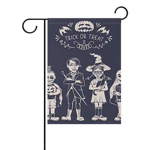 SUNOP Polyester Gartenflagge Cartoon Kind Halloween Banner 30,5 x 45,7 cm für Outdoor Haus Garten Blumentopf Deko Party Supplies Hausflagge