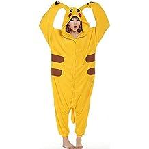 Pijama de invierno unisex tipo mono para adultos, pieza única de cálida franela, con diseño de Pikachu amarillo amarillo XL