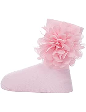 Zhhlinyuan Bebé Girls Extra Soft Comfortable Breathable Lace Flower Cotton Socks