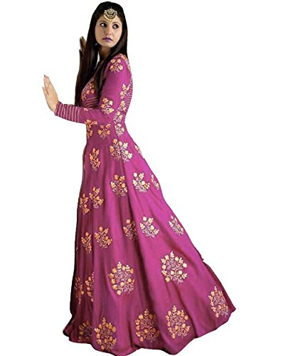 Prem Creation Sky Cotton Silk Gown for Woman With Semi-Stitched Blouse Piece.
