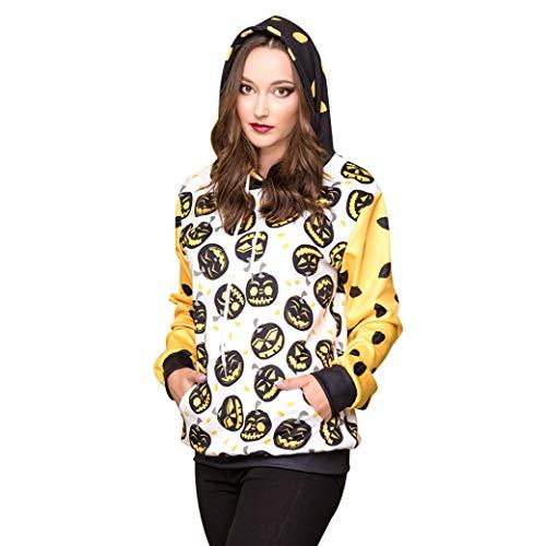 OYSOHE Damen Halloween Tops Pumpkins 3D Druck Langarm Hoodie Pullover Sweatshirt (Weiß,XL)