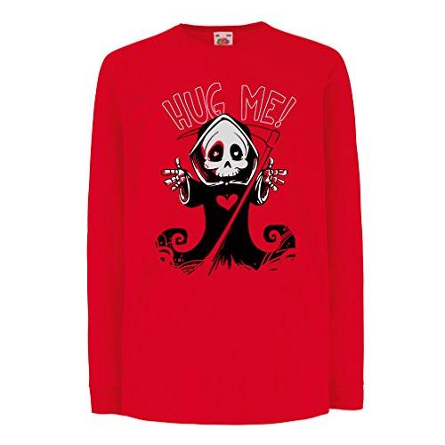 Kinder-T-Shirt mit Langen Ärmeln Der Tod kommt! Halloween Skelett Kleidung, böse Schädel Sichel (9-11 Years Rot Mehrfarben)