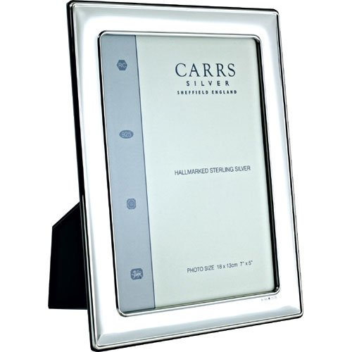 Carrs Silver Photo Frame 7 x 5 With Wood Back can stand Portrait or Landscape