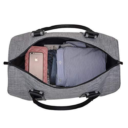 VSWIG Borsa da Viaggio in Tela per Donna e Uomo - Borsa da Palestra  Sportiva Unisex Adulto con Scompartimento Scarpe (Grigio) b8c7a4c8446