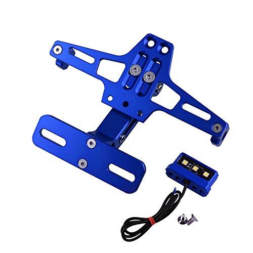 WXCymhy Motorrad Geändert Einstellbare Teleskop Aluminiumlegierung Nummernschild Universal Lenkung LED-Licht Nummernschild Halterung Motorrad zubehör Motorradzubehör (Color : Blue)
