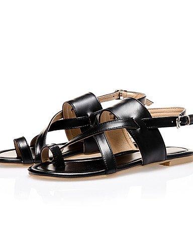 LFNLYX Chaussures Femme-Extérieure / Habillé / Décontracté-Noir / Marron / Argent-Talon Plat-Bride Orteil / Bout Ouvert / A Bride Arrière- Black