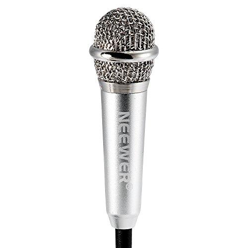 Neewer® Mini Kondensator-Mikrofon für iOS / Android / Windows intelligente Geräte (Smartphone, Notebook oder Computer), mit 3,5-mm-Mic-Kabel, Kopfhörer, Zwei-Buchsen Verbindungslinie und Mic Stand (Silber)