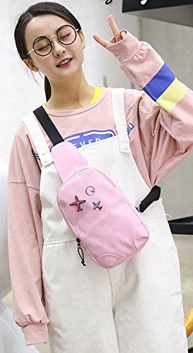 CLOTHES- Versione coreana della spalla trasversale trasversale della tela di canapa Sacchetto di cassa dell'uomo del sacchetto di viaggio di svago libero di modo ( Colore : Grigio ) Rosa