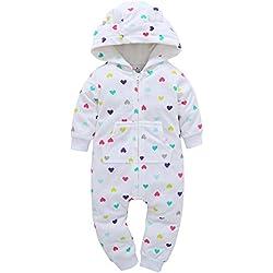 Sunenjoy Bébé Garçons Filles Plus Chaud Cerf Imprimer Hooded Barboteuse Combinaison Tenue Vêtements pour Enfant 0-24 Mois (F, 0-6 Mois)