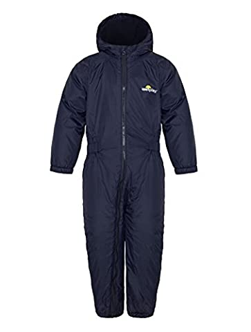 Wetplay Kids Padded All-In-One Waterproof Suit Snowsuit Childs Childrens Boys Girls (7-8 Years, Navy
