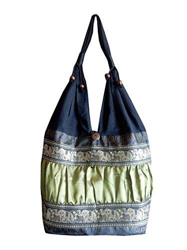 Schultertasche aus Baumwolle / Seide mit Elefanten, Blumen und Kringel Muster, schwarz / grün, 30 x 15 x 27 cm (l x b x h), Gesamthöhe: 60 cm (Gestickte Seide Handtasche)