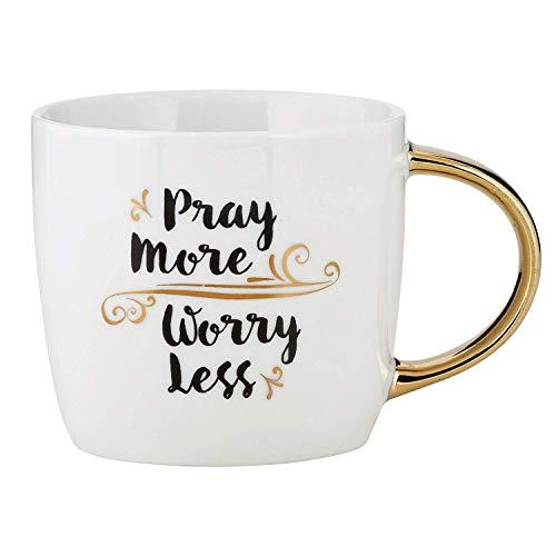 Kaffeetasse mit goldfarbenem Griff aus Keramik mit Pray More Worry Less