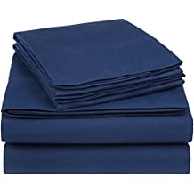 AmazonBasics 225 Thread Count Essential Cotton Blend Bed Sheet Set, King, Navy