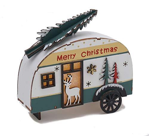 Holz Deko Wohnwagen mit Tannenbaum beleuchtet - LED Weihnachtsdekoration Tischdeko