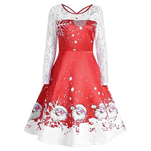 Luckycat Damen Vintage Spitze Langarm Print Weihnachten Party Swing Dress Abendkleider Cocktailkleid Partykleider Blusenkleid Mode ()