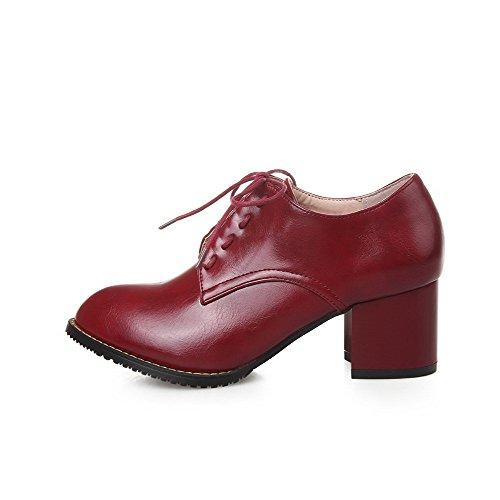 AllhqFashion Damen Pu Mittler Absatz Spitz Zehe Rein Schnüren Pumps Schuhe Rot 52hOiR1n