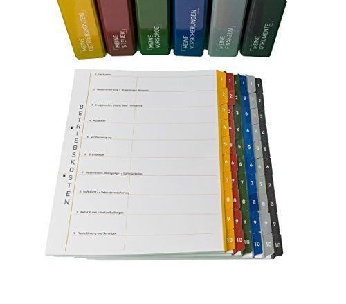 6er-Pack Themenringbücher mit Register für Versicherungen/Steuern/Vorsorge/Finanzen/Dokumente/Betriebskosten, Optimale Struktur für die Ablage der wichtigsten Dokumente
