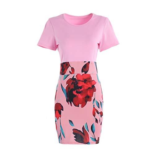 Dicomi Damen Kleider Mode Oansatz Kurzhülse Spleißen Blumendruck Gesäß Kleid