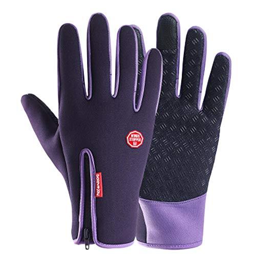 Shaoyao Unisex Satin Rutschfest Schlank Reißverschluss Touchscreen Handschuhe Trainingshandschuhe Sport Rutschfest B24 Lila S