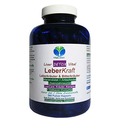 Leber Kraft Liver Care DETOX Leberkräuter Vital Komplex + GELBWURZ 360 Kapseln mit Mariendistel + Artischocke + Löwenzahn NATUR pur. 26565-360 -