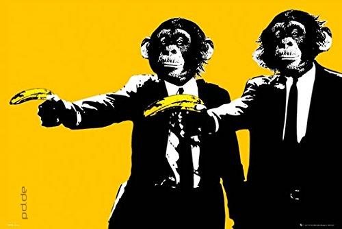 Poster Pulp Fiction - Affen mit Bananen Schimpansen Retro lustig - Größe 61 x 91,5 cm - Maxiposter