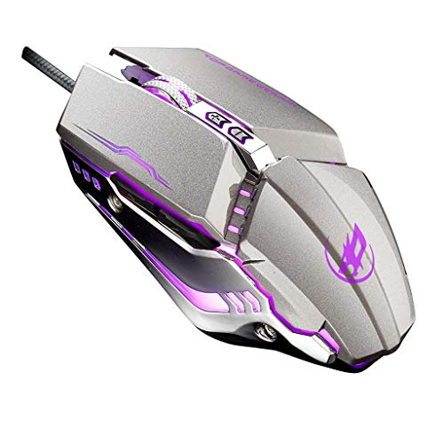 Sacherron Tech Mice Fashion Quality Wired USB Gaming Maus ergonomisches Design programmierbar 6 Tasten 3200 DPI Maus mit LED Gaming Maus Büro Maus grau grau -