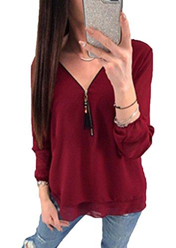 Damen Shirt Chiffon Bluse Langarmshirt mit Reißverschluss Vorne V-Ausschnitt Tops T-Shirt (S, Weinrot) (Spandex-v-neck Sleeve Long)