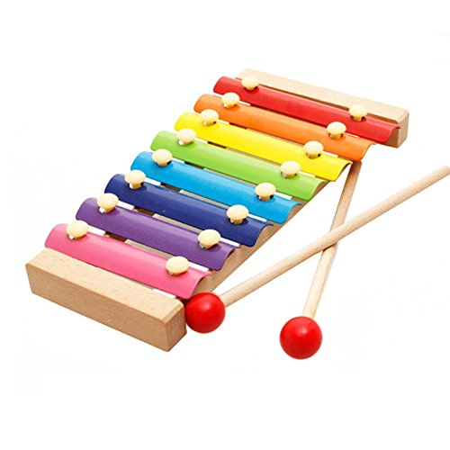 8 Note Xylophone Musical Toys Hand Knocks for Kids with 8 Metal Notes and 2 Wooden Mallets