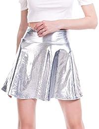bf378e3d51 Mxssi Moda Casual para Mujer Acampanada Falda Plisada Skater Disco Aspecto  Mojado Falda Corta Plisada Faldas
